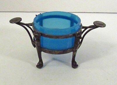 REED & BARTON SILVER PLATED #230 FOOTED SALT CELLAR - GARGOYLE FEET - BLUE GLASS - Gargoyle Feet