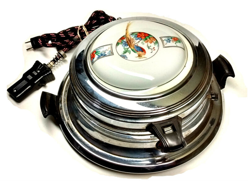 Royal Rochester Waffle Iron Golden Pheasant Porcelain China Top Cat #12920-A Vtg