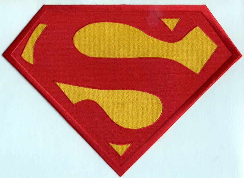 """7"""" x 10"""" Embroidered Christopher Reeve Red / Yellow  Superman Chest Logo Patch"""