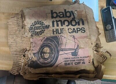 Vintage Calcustom Chrome Baby Moon Hubcaps (Set of 4)