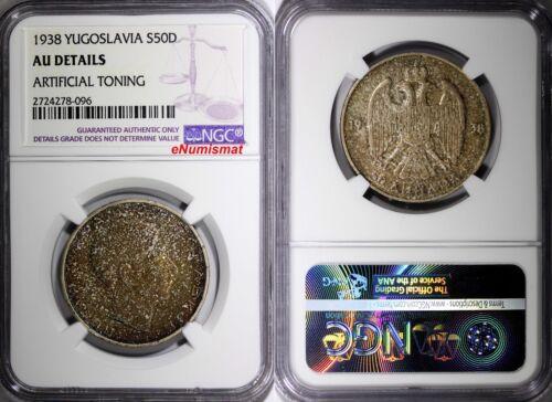 Yugoslavia Petar II Silver 1938 50 Dinara NGC AU DETAILS 1 YEAR TYPE KM# 24