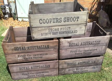 5 X large vintage rustic timber wooden crates boxes $50 each