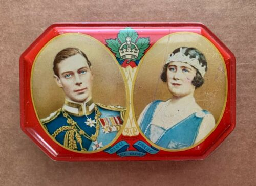 King George VI & Queen Elizabeth 1939 Royal Visit Souvenir English Toffee Tin