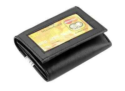 Black Mens Trifold Genuine Leather Wallet Window ID Pockets Holder Credit Cards