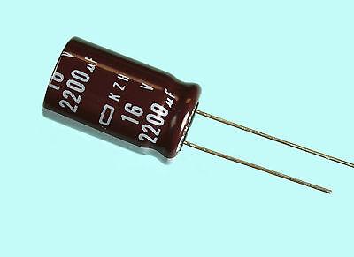 10pcs Nippon Chemi-con Kzh 2200uf 16v 105c Radial Electrolytic Capacitor