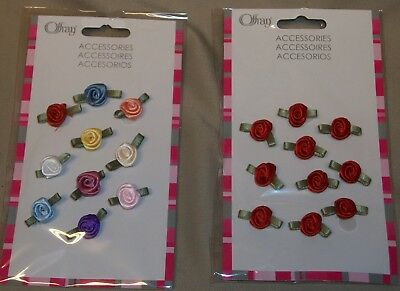 """30 pieces (3-10 piece packs) SATIN RIBBON ROSE BUDS  Red or ASSORTED  1/2"""" diam."""