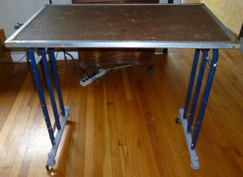 Vintage  Utility / Work / Multi-Purpose Table (Adjustable Height with Wheels)