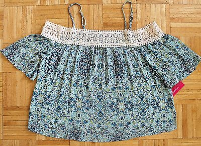 NEW Xhilaration Blue Green White Floral Top Blouse W/ Crocheted Lace Sz M Medium