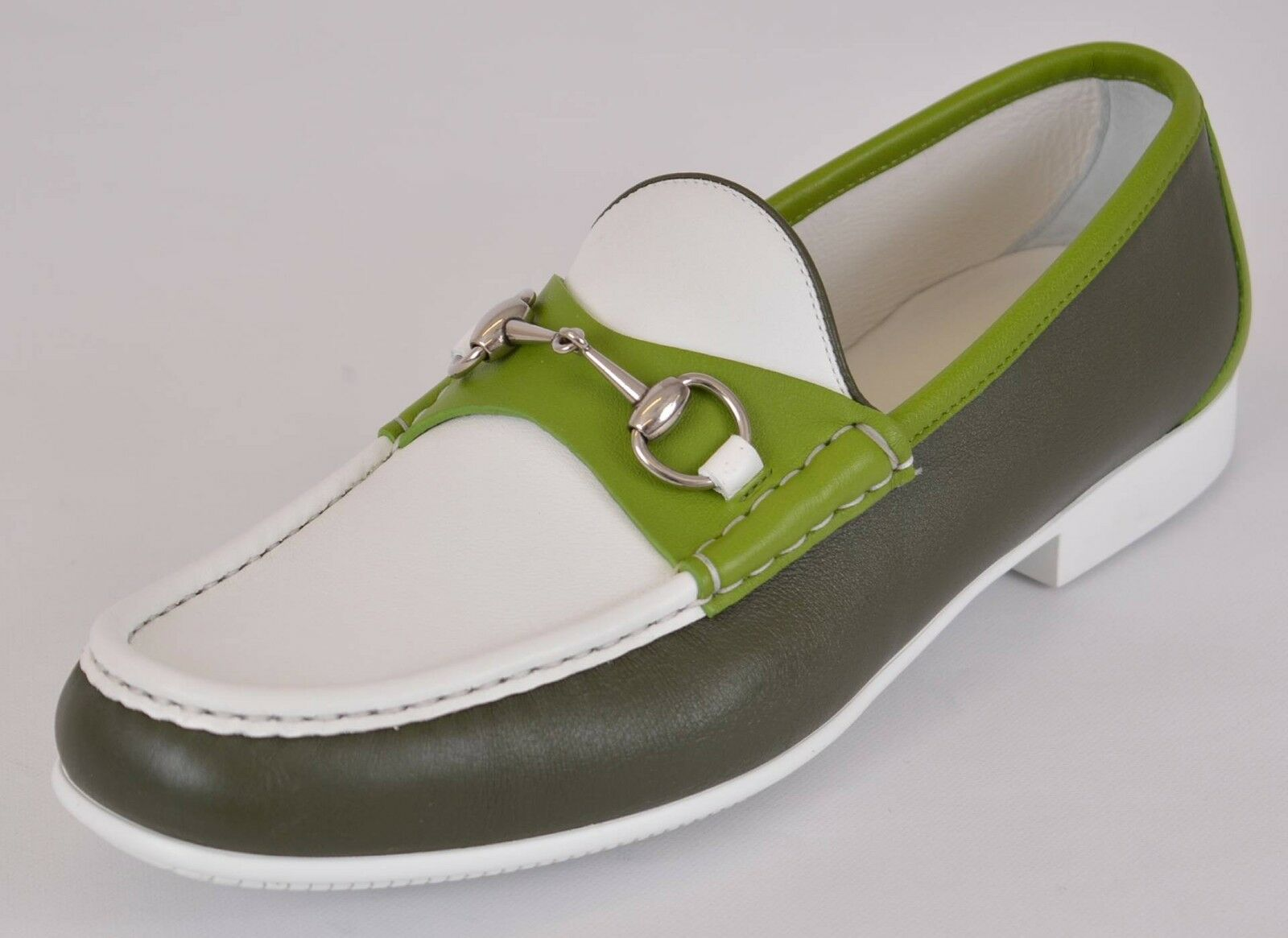 NEW Gucci Men's 337060 Green White Leather Horsebit Loafer Shoes 10.5 G 11.5 US