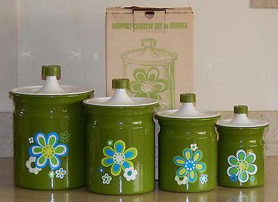 4 Vintage Retro Kromex Green Flower Power Enamel Metal 8pc Kitchen Canister Set