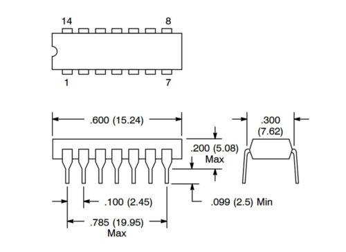 74HC04 (5 pcs) Hex Inverter TTL CMOS Logic IC / RCA CD74HC04E / 14 Pin DIP