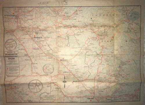 """1946 CSAA Auto Club road map - Yosemite National Park and Valley. 21"""" x 16"""""""