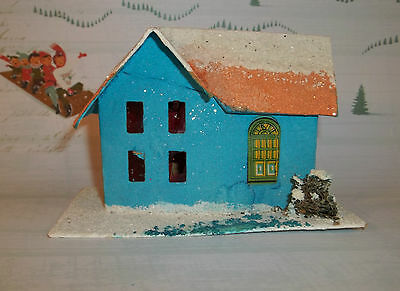 Vintage Christmas Paper PUTZ HOUSE Blue & Peach Made in JAPAN C598