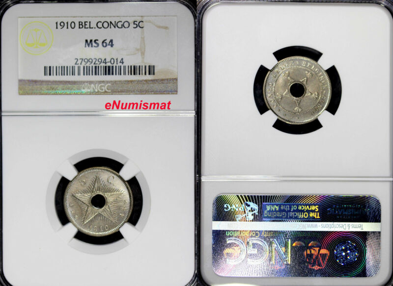 Belgian Congo 1910 5 Centimes NGC MS64 1st Year Type KM# 17 Center Hole