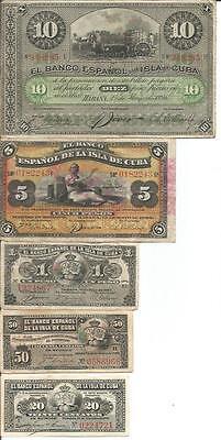 SPAIN COLONIAL SET 5 NOTES 20 CENTAVOS TO 10 PESOS 1896-1897. F-VF. 4RW 28NOV