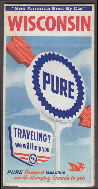 Pure Oil Gasoline Road Map Wisconsin 1964