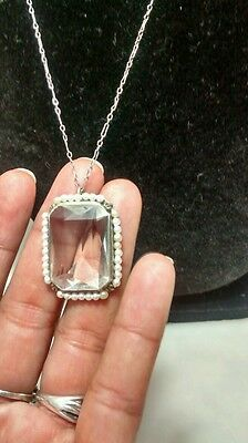 Rare Art Deco emerald cut rock crystal seed pearls pendant necklace