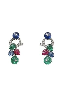 Solid Carved 925 Sterling Silver Tutti Frutti Earrings best Wedding gift for