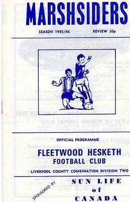 FLEETWOOD HESKETH  V AVON ATHLETIC 10/9/1985 liverpool county league PROGRAMME