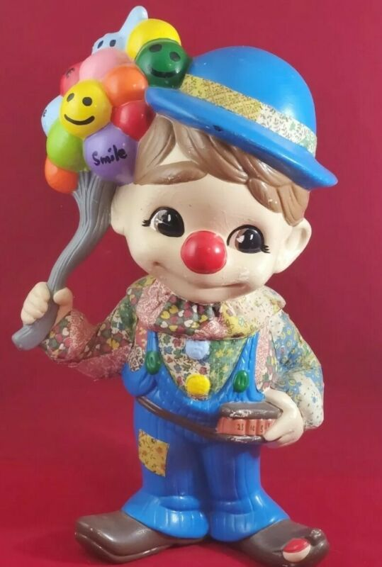 Vintage Bisque Porcelain Clown Statue/Figurine with Paper Mache Design