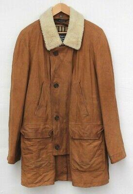 BURBERRY mens suede leather brown coat jacket nova check fur collar vintage L 52