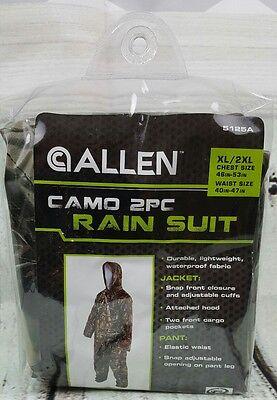 Allen Camo 2 Piece Lightweight Rain Suit Size XL/2XL Item NO 5125A