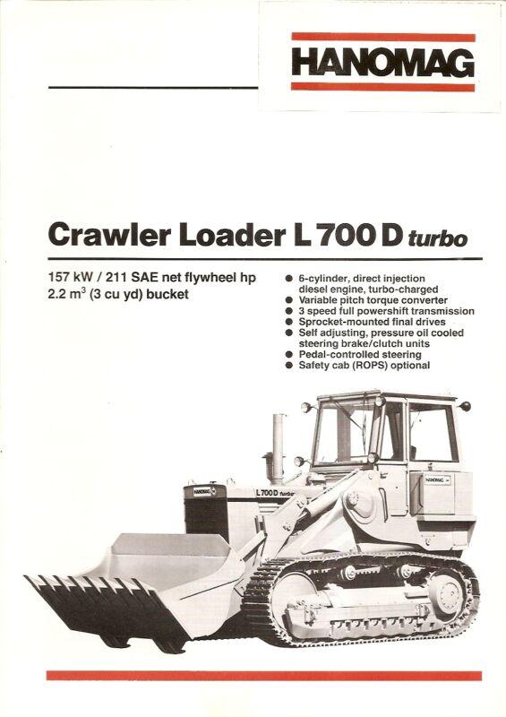 Equipment Brochure - Hanomag - L700D Turbo - Crawler Loader - 1983 (E1606)