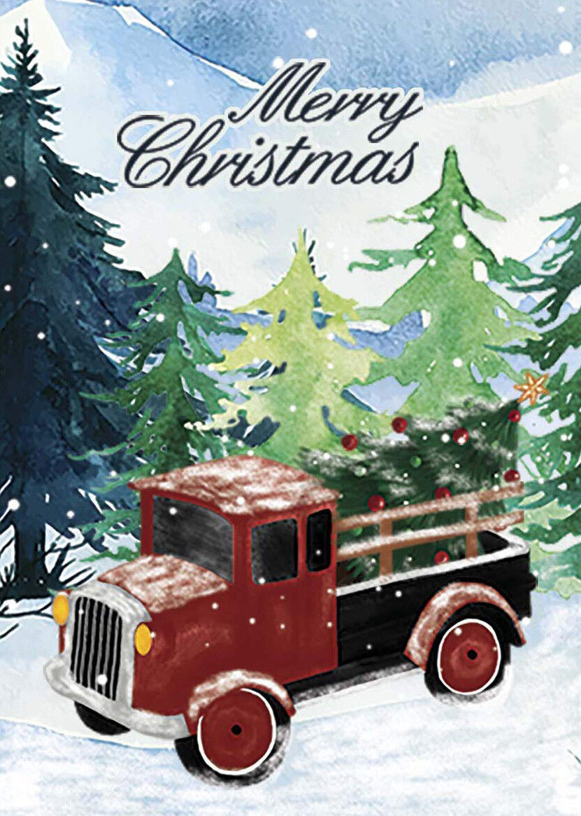 Morigins Merry Christmas Tree Red Truck Snowing Forest Decor