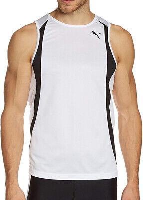 Puma Team Race Mens Running Vest White Breathable Lightweight Race Vest Singlet