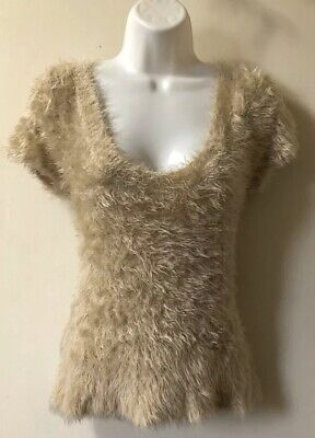 NWT Free People Size M Fuzzy Short Sleeve Top Blouse Shirt Beige Retail $98