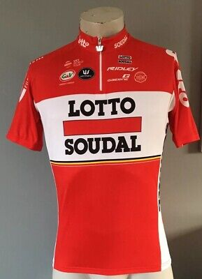 RED LOTTO SOUDAL CYCLING TOP/JERSEY SIZE LARGE Pit To Pit 22 Inches