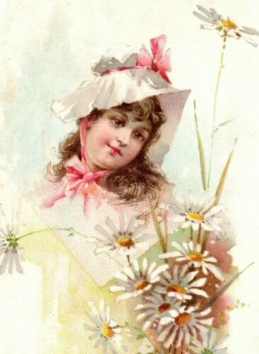Woolson Spice Company Lion Coffee Promo Trade Card with Flower Girl 1894