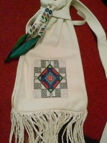 Native American Beaded Deerskin Bag