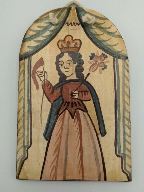 Mary Jo Madrid Santa Gertrudis La Magna Spanish Colonial Art Wood Retablo Mystic