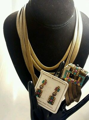 Art  deco style Sweet Romance USA multi crystal necklace bracelet earrings set