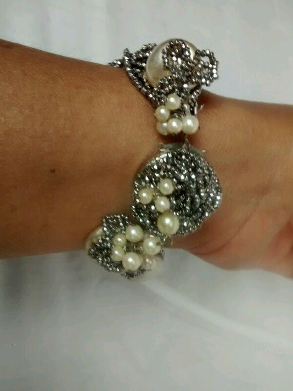 Rare antique cut steel 16 strands faux pearl bracelet