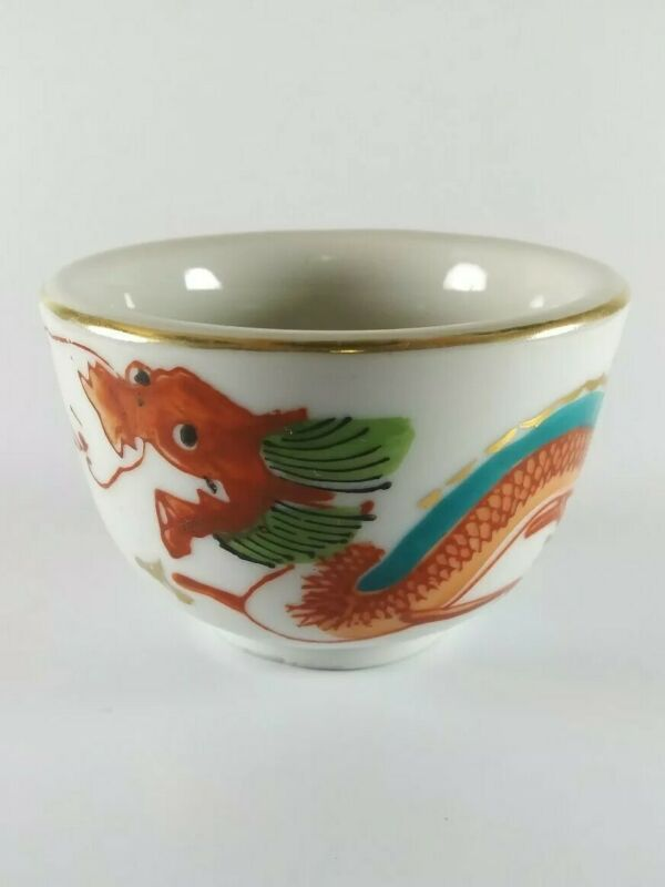 Vintage - Porcelain - Hand Painted - Chinese - Red Dragon - Tea Cup