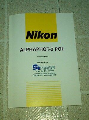 Oem Nikon Alphaphot-2 Pol Polarizing Microscope Instructions Manual 1996