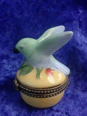 Beautiful Mini Blue Bird Brass Hinged Trinket Box EUC