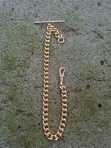 Gold Plated Single Curb Watch Albert Pocket Watch Chain. 28grams 9ct gold plated