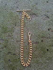 Pocket Watch Chain 9ct Gold Plated Single Curb Fob Albert 28 Gram Wedding Groom