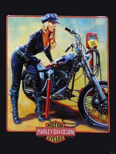 Pumper Up Babe Harley Davidson Motorcycle Metal Sign