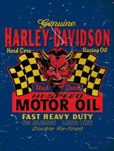 HARLEY DAVIDSON RED DEVIL MOTOR OIL HEAVY DUTY USA MADE METAL ADVERTISING SIGN