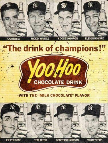 YOOHOO CHOCOLATE DRINK MICKEY MANTLE HEAVY DUTY USA MADE METAL ADVERTISING SIGN