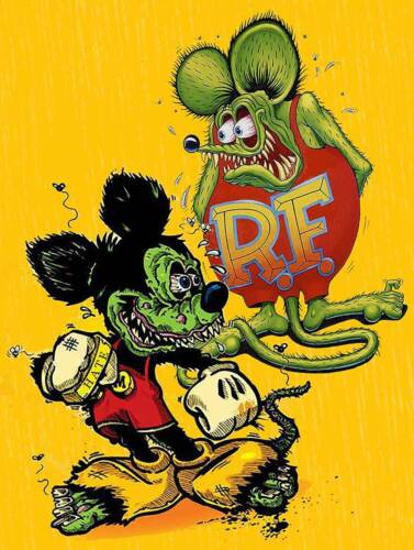 Frienemies Love Hate Relationship Rat Fink & Mickey Big Daddy Ed Roth Metal Sign