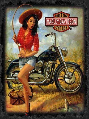 HARLEY DAVIDSON GIRL CATCHES FISH HEAVY DUTY USA MADE METAL ADVERTISING SIGN