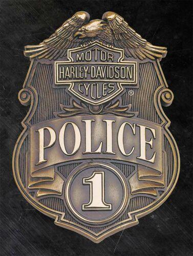 HARLEY DAVIDSON MOTORCYCLES POLICE BADGE HEAVY DUTY USA MADE METAL ADV SIGN