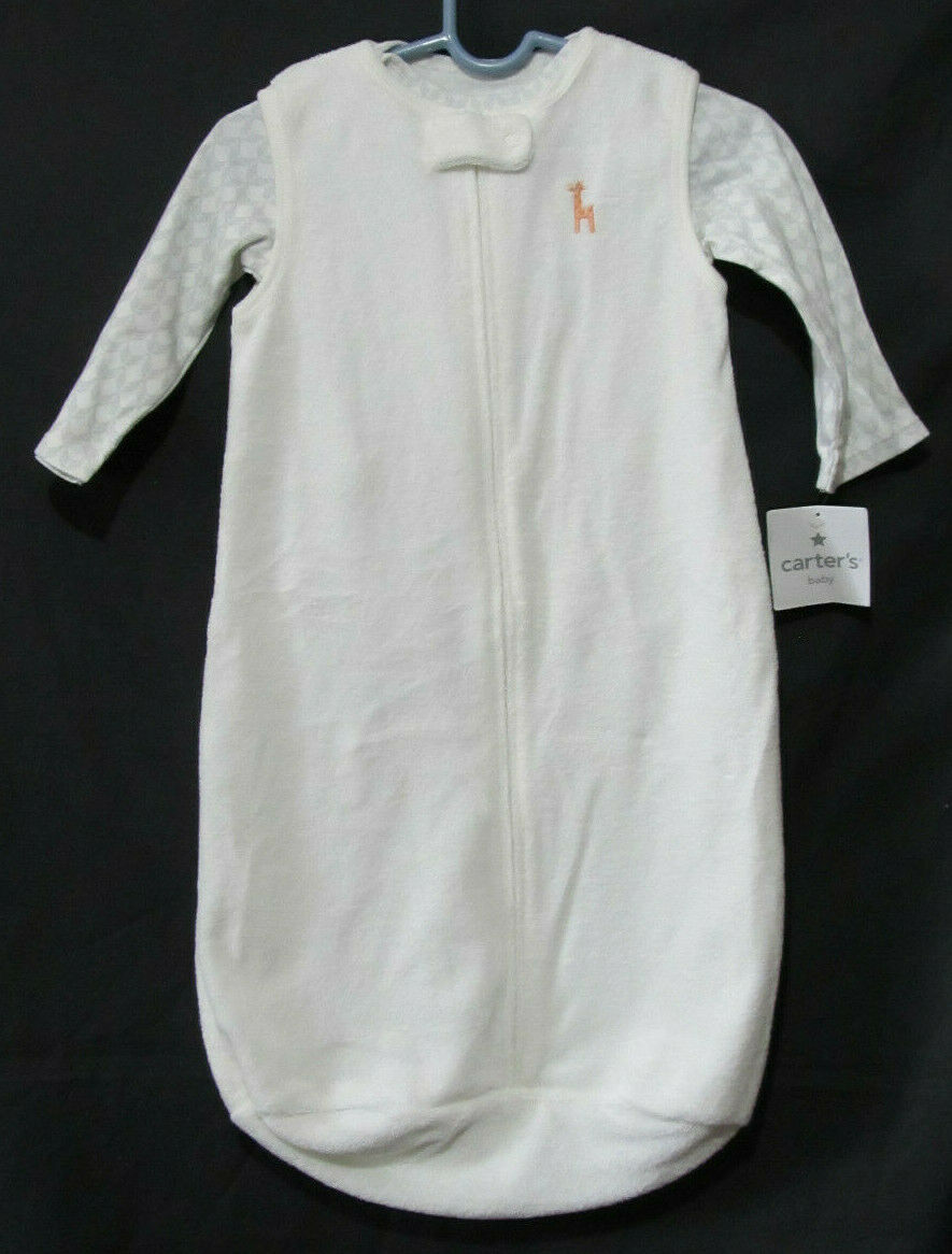 Carter's White Terry Cloth Infant Size 6-9 Months Giraffe Bunting 2 Pc Set New