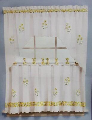 """New! 57""""x36""""Oopsy Daisy Tier Pair in Buttercup Yellow Kitchen Curtains Floral for sale  Valdese"""
