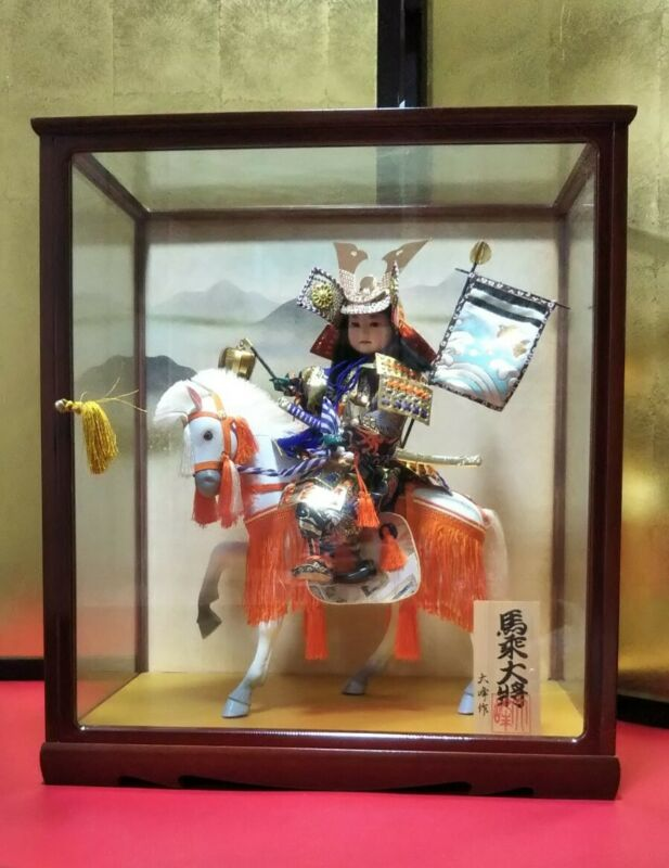 Japanese Traditional warrior Samurai doll riding horse in glass case VERY GOOD
